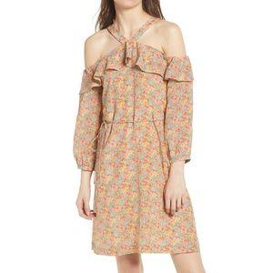 Madewell Forsythia cold shoulder SILK Dress  NWOT